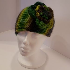Knitted Sweater Floral Headband- Green